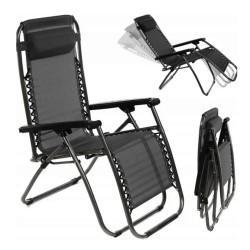 Sezlong pliabil, tip scaun, cadru otel, perna reglabila, 176x65x106, negru