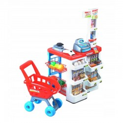 Set complet supermarket, efect sonor si lumini, alimente, carucior, varsta 3+