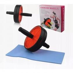 Roata dubla pentru exercitii, saltea, manere antiderapante, diametru 17.5 cm