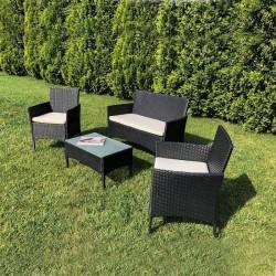 Set mobilier gradina, 4 piese, masuta, fotolii, canapea, model ratan, negru