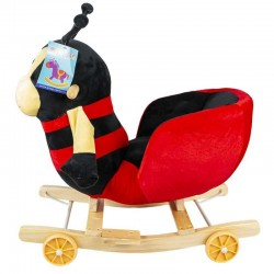 Balansoar bebelusi Buburuza, 2 in 1, roti suspendabile, sunete muzicale, lemn