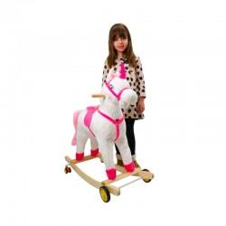 Balansoar unicorn, 3-5 ani, emite sunete, roti deplasare, lemn si plus