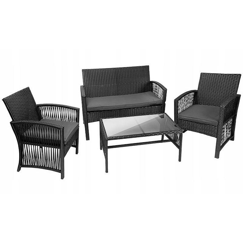 Set mobilier gradina, model ratan, canapea, 2 fotolii, masa de cafea, negru, resigilat