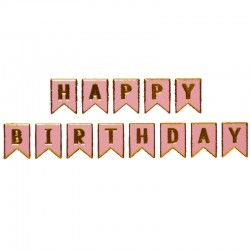 Ghirlanda Happy birthday, stegulete carton, banda adeziva, culori mixte, 16 x 175 cm