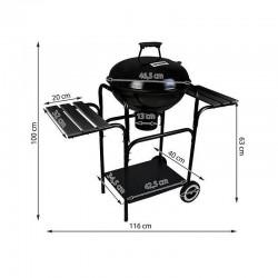 Gratar rotund BBQ pe carbuni, rafturi laterale, capac, suport carbuni