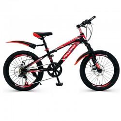 Bicicleta MTB 22 inch, cadru otel, jante aluminiu, schimbator Shimano, 7 viteze, frane pe disc, rosie