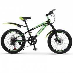 Bicicleta MTB 22 inch, 7 viteze, schimbator Shimano, cadru otel, frane pe disc, verde, Phoenix