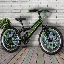 Bicicleta MTB 20 inch, cadru otel, 6 viteze, schimbator Power, V-Brake, negru-verde neon, Explorer