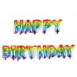 Baloane folie Happy Birthday, inaltime 40 cm, efect curcubeu metalizat