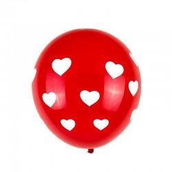 Baloane latex imprimeu inimioare, set 6 bucati, rosu-alb