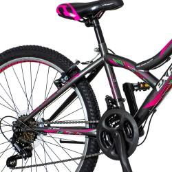 Bicicleta MTB dama, 24 inch, cadru otel, 18 viteze, schimbator Power, V-Brake, Explorer