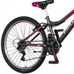 Bicicleta MTB 24 inch, pentru dama, 18 viteze Power, cadru otel, V-Brake, gri-roz, Explorer Magnito