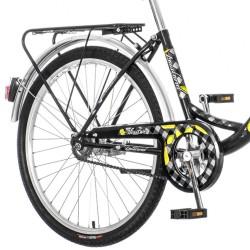Bicicleta dama, 24 inch, cadru otel, V-Brake, cos frontal, portbagaj, stop, far si claxon