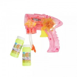 Pistol baloane sapun cu lumini LED, 2 flacoane solutie incluse, Super Power