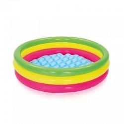 Piscina gonflabila pentru copii, 102x25cm, multicolor, 3 inele, podea moale