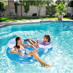 Saltea gonflabila pentru piscina, fotoliu dublu, 2 tetiere gonflabile, manere, 171x105x48cm