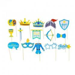 Propsuri petrecere copii, accesorii Photo Booth, set 15 piese diverse accesorii