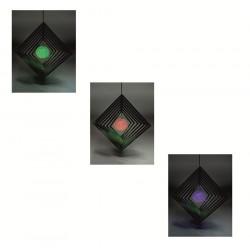 Lampa solara LED deco romb, 44 cm, iluminare multicolora, suspendata