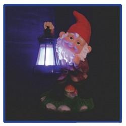 Lampa solara Pitic cu felinar pentru curte, iluminare multicolora