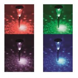 Lampa solara LED multicolor pentru alei, inaltime 37 cm, set 4 bucati