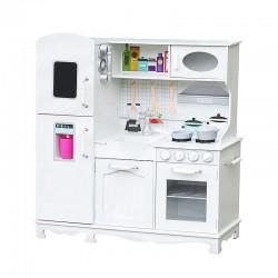 Bucatarie copii, lemn MDF alb, cuptor, frigider, chiuveta, set ustensile si cratite gatit, 91x102.5x30 cm