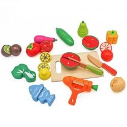 Set ladita cu fructe si legume din lemn, pentru feliat, tocator, cutite, prindere magnetica