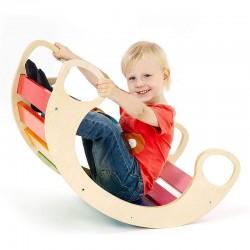 Balansoar rocker din lemn, placa de echilibru, multifunctional, multicolor