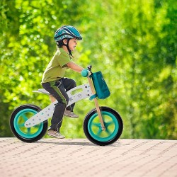 Bicicleta copii 12 inch, fara pedale, pentru echilibru, scaun ajustabil, lemn, roti spuma EVA
