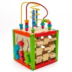 Cub activitati educative, centru multifunctional, 5 in 1, jucarie interactiva din lemn