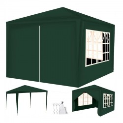 Cort de gradina, 3x3 m, 4 pereti, 3 ferestre, cadru otel, inaltime 2.5 m, verde