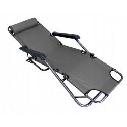 Sezlong pliabil, tip scaun, 3 pozitii, tetiera detasabila, cadru metal, greutate maxima 100 kg, gri
