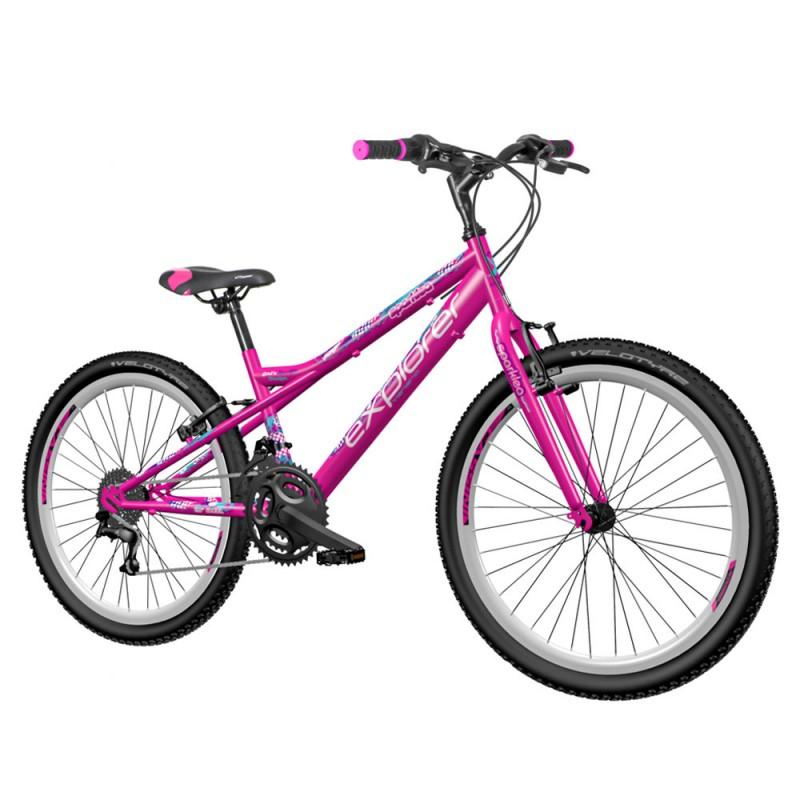 Bicicleta MTB 24 inch, cadru otel, 18 viteze Power, frana V-Brake, Explorer Spark, roz
