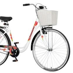 Bicicleta dama, 28 inch, cadru otel, cos frontal alb, portbagaj, Venssini Rosemary