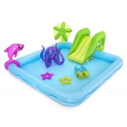 Centru de joaca cu piscina pentru copii, animalute marine, tobogan, 239x206x86 cm