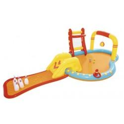 Centru de joaca acvatic pentru copii, multiple jocuri, piscina, tobogan, 435x213x117 cm