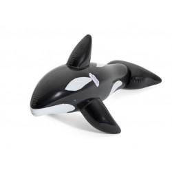 Saltea gonflabila pentru copii, forma balena, 203x102 cm, culoare negru-alb