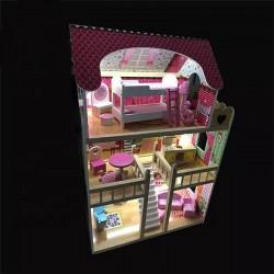 Casa de papusi, din lemn, lumini LED, scara interioara, mansarda, balcon, 14 piese, 90x60x33 cm