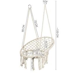 Hamac suspendat, tip fotoliu cu spatar, 53x120 cm, alb, maxim 120 kg