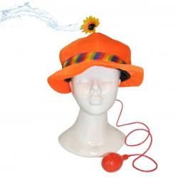 Palarie de clovn cu floare pulverizatoare, banda colorata, culoare portocalie