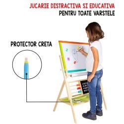 Tablita de scris pentru copii, 2 in 1, fata magnetica si pentru creta, 60x40 cm, alfabet si ceas, rola hartie