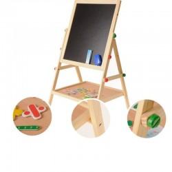 Tablita magnetica cu 2 fete, cifre si semne matematice, 35x31 cm, suport lemn