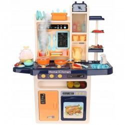 Bucatarie copii, abur rece, efecte sonore si lumini, circuit inchis robinet apa, 65 piese, 93x71x28 cm
