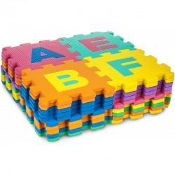 Covor spuma Eva tip puzzle cu cifre si litere, 36 piese, 30x30 cm, grosime 0.9 cm