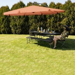 Umbrela de gradina cu stalp, pliabila, impermeabila, reglabila, diametru 350 cm