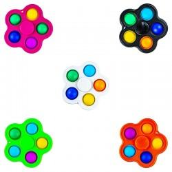 Jucarie senzoriala 2 in 1, spinner si bule POP IT, interactiva, 8x8 cm