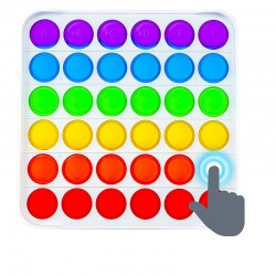 POP IT jucarie senzoriala, 36 bule multicolore alfabet si cifre, 13x13 cm