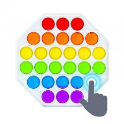 Jucarie senzoriala din silicon, bule POP IT cu litere si cifre, curcubeu, 13x13 cm