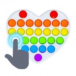 Inimioara POP IT cu 27 bule multicolore din silicon, jucarie senzoriala,15x13 cm