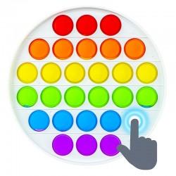POP IT jucarie antistres, 28 bule multicolor, forma cerc, 3 ani+, 13x13 cm