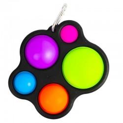 Jucarie senzoriala POP IT tip breloc, 5 bule din silicon, copii 3 ani+